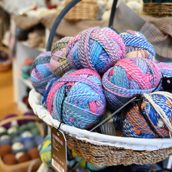 A basket full of yarn in a knitting store in Connecticut
